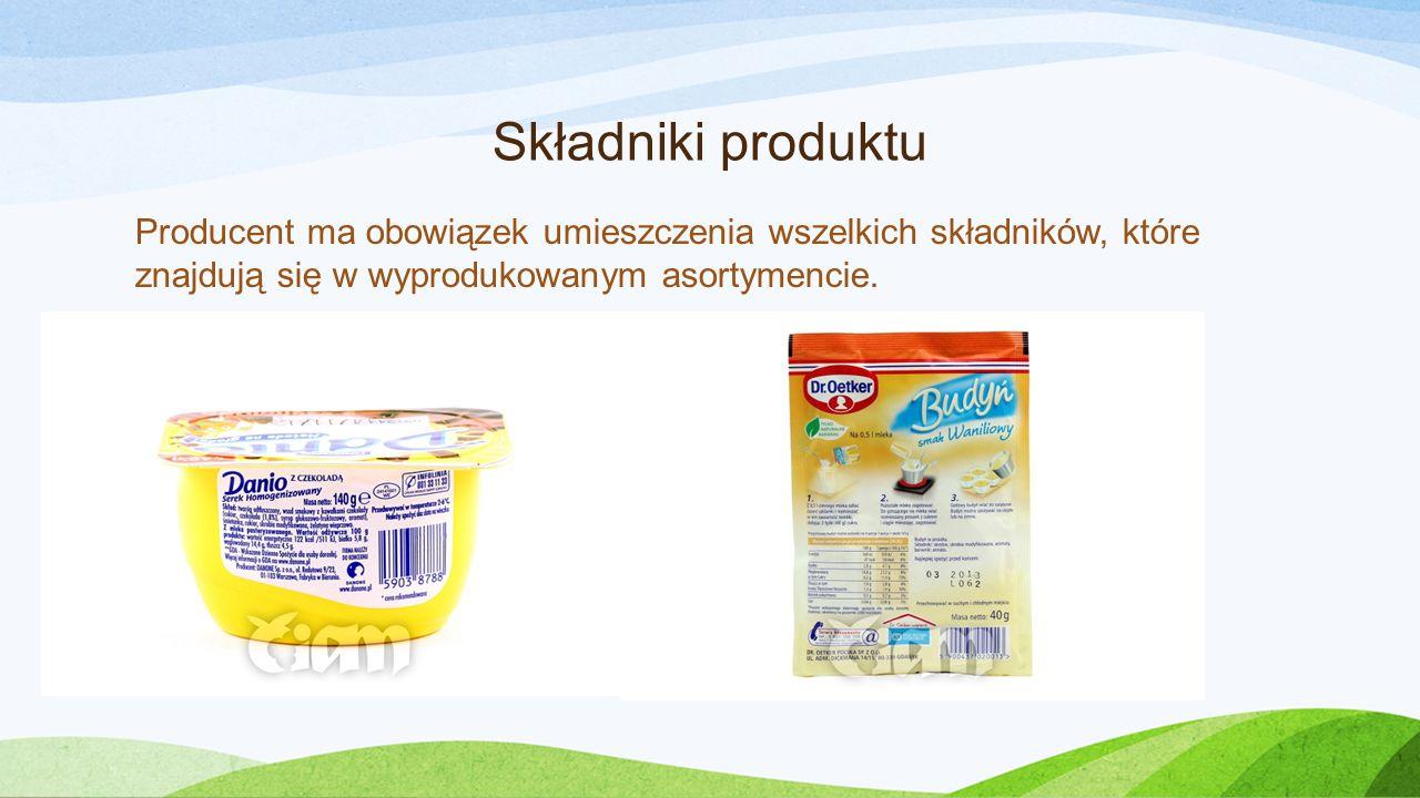 Składniki produktu Producent ma obowiązek umieszczenia wszelkich składników, które znajdują się w wyprodukowanym asortymencie.