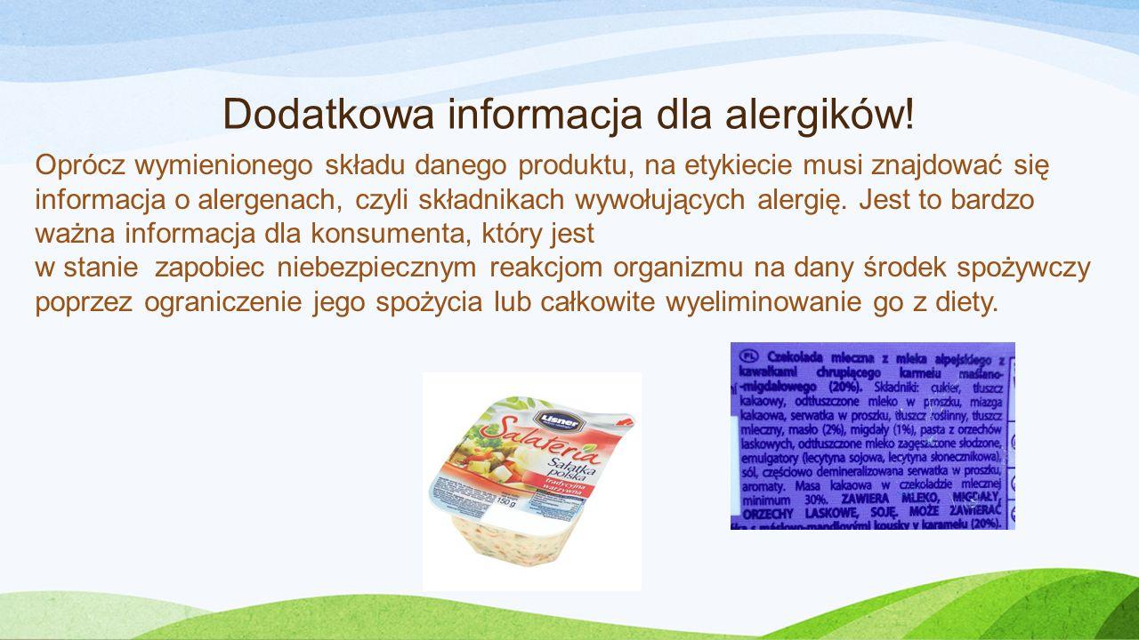 Dodatkowa informacja dla alergików!