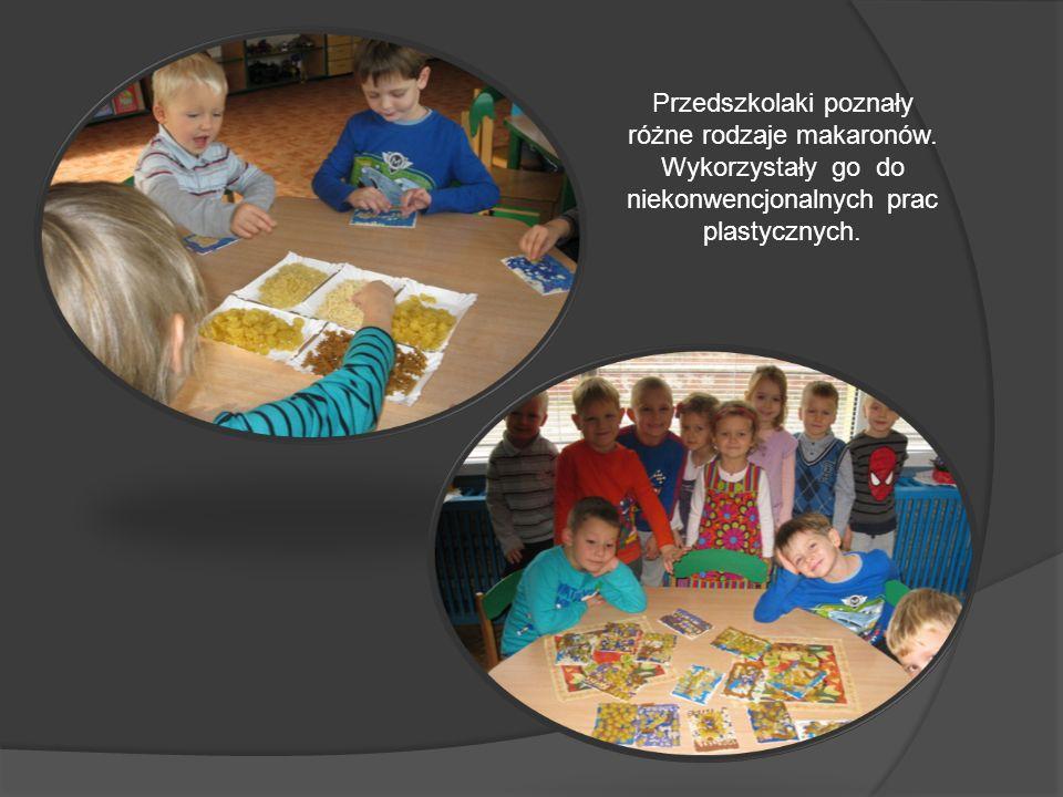 Przedszkolaki poznały różne rodzaje makaronów.