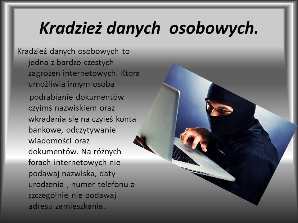 Kradzież danych osobowych.