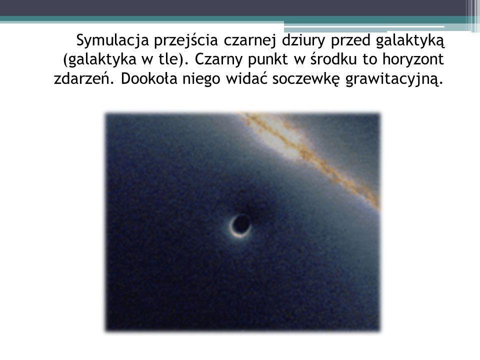 Symulacja przejścia czarnej dziury przed galaktyką (galaktyka w tle)