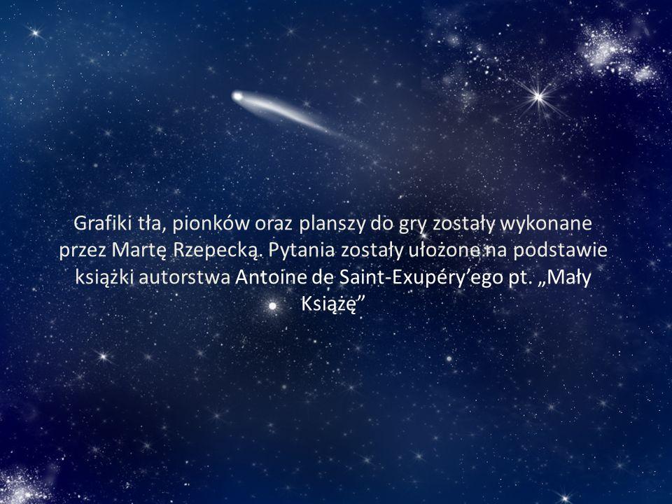 Grafiki tła, pionków oraz planszy do gry zostały wykonane przez Martę Rzepecką.