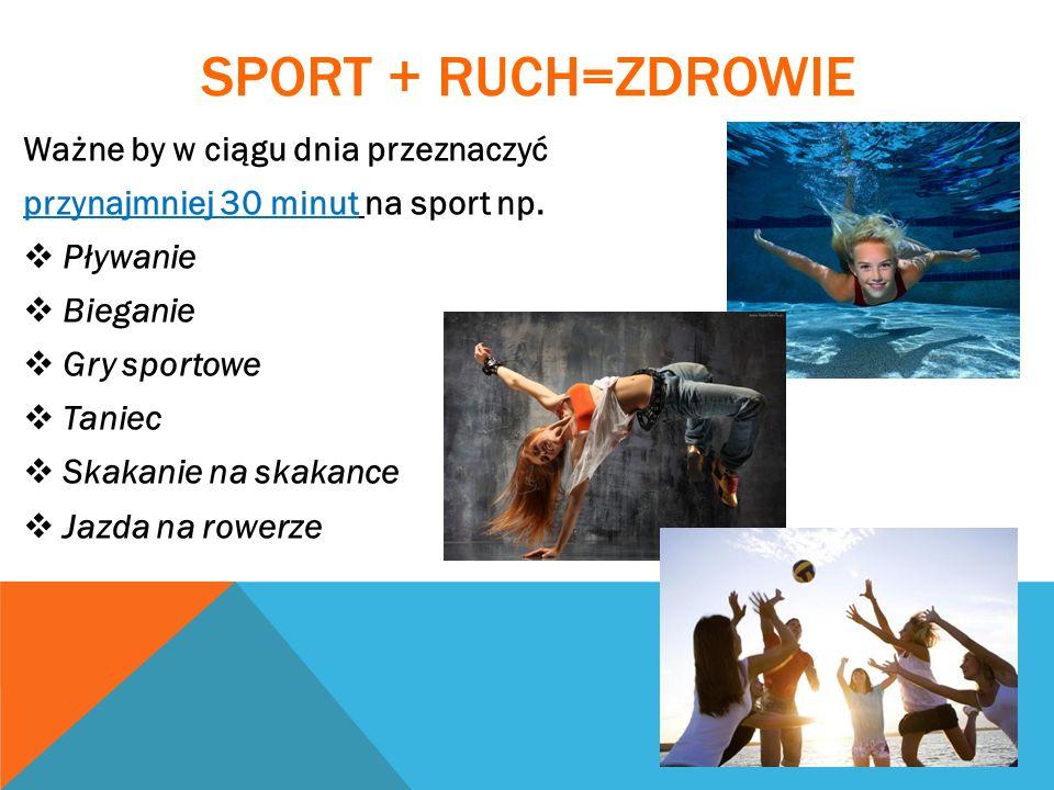 SPORT + ruch=zdrowie Ważne by w ciągu dnia przeznaczyć