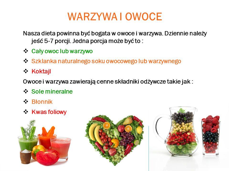 WARZYWA I OWOCE Nasza dieta powinna być bogata w owoce i warzywa. Dziennie należy jeść 5-7 porcji. Jedna porcja może być to :