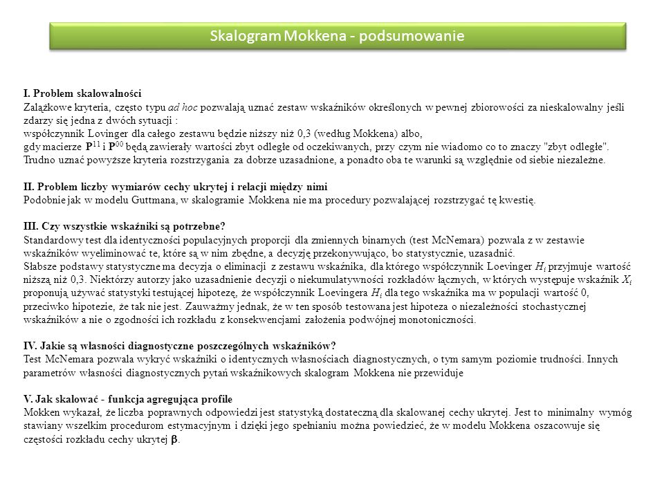 Skalogram Mokkena - podsumowanie