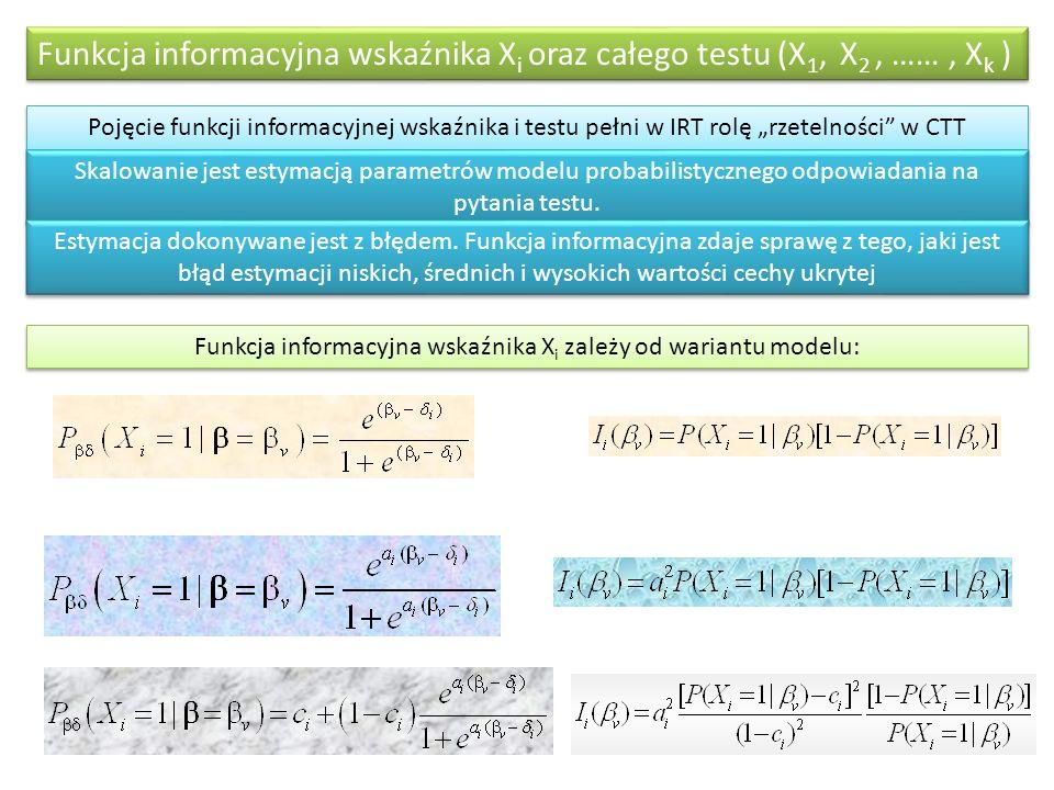 Funkcja informacyjna wskaźnika Xi zależy od wariantu modelu: