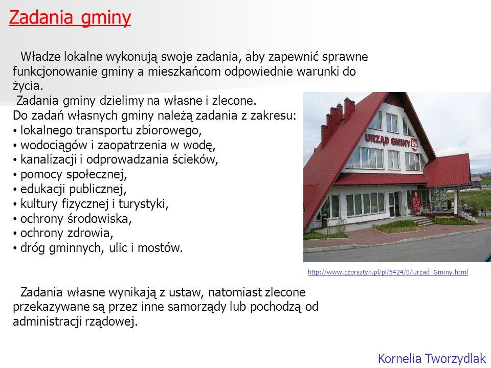 Zadania gminy Władze lokalne wykonują swoje zadania, aby zapewnić sprawne funkcjonowanie gminy a mieszkańcom odpowiednie warunki do życia.