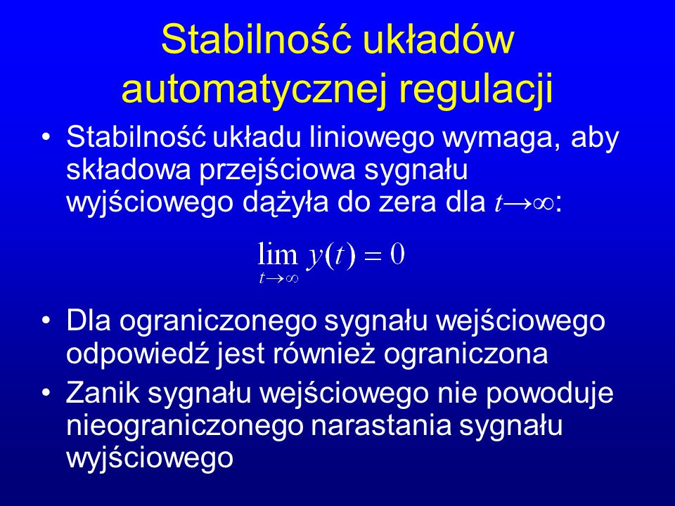 Stabilność układów automatycznej regulacji
