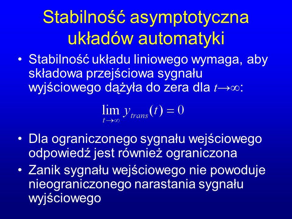 Stabilność asymptotyczna układów automatyki