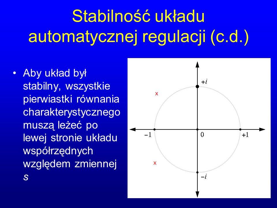 Stabilność układu automatycznej regulacji (c.d.)