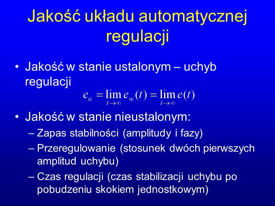 Jakość układu automatycznej regulacji