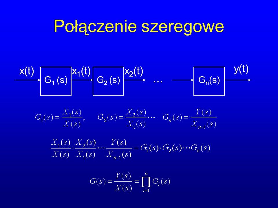 Połączenie szeregowe y(t) x(t) x1(t) x2(t) G1 (s) G2 (s) Gn(s) ...