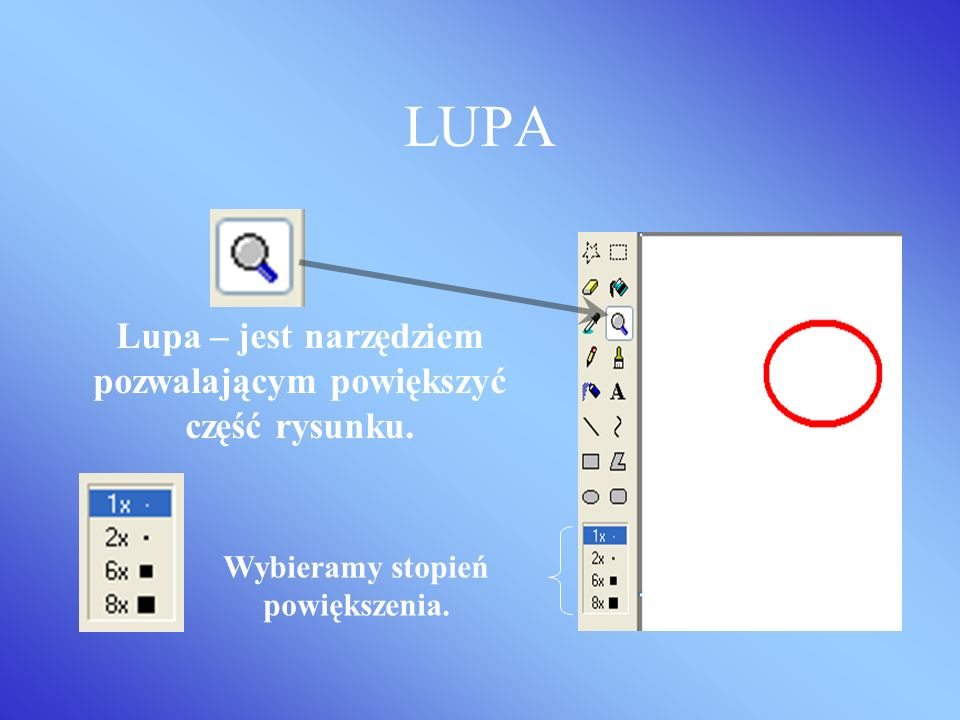 LUPA Lupa – jest narzędziem pozwalającym powiększyć część rysunku.