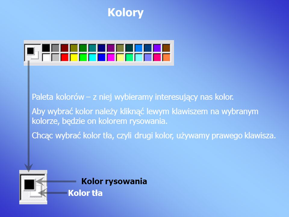 Kolory Paleta kolorów – z niej wybieramy interesujący nas kolor.