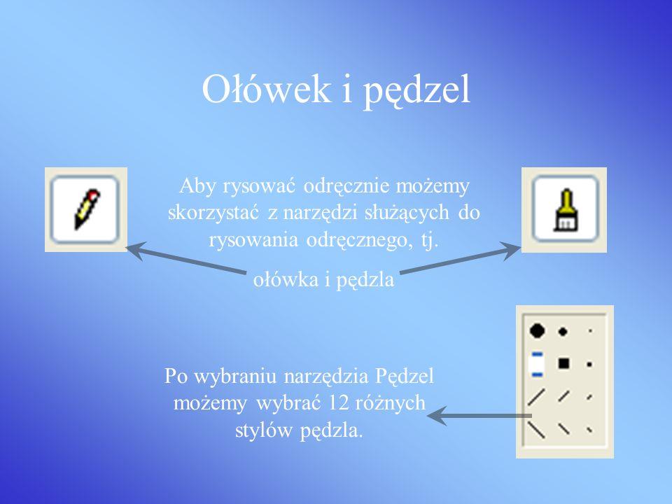 Po wybraniu narzędzia Pędzel możemy wybrać 12 różnych stylów pędzla.