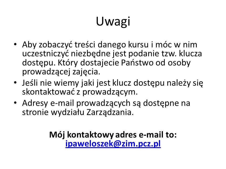 Mój kontaktowy adres e-mail to: ipaweloszek@zim.pcz.pl