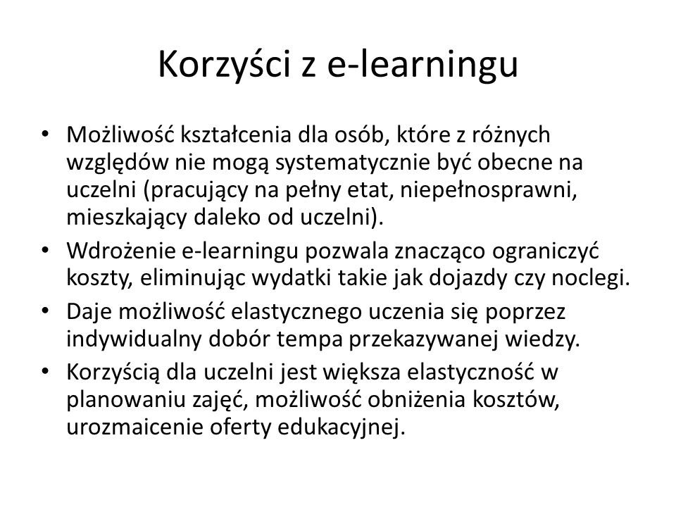 Korzyści z e-learningu