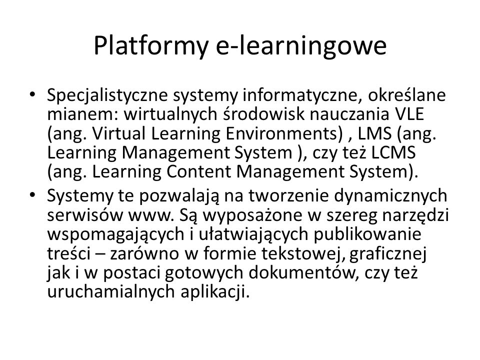 Platformy e-learningowe