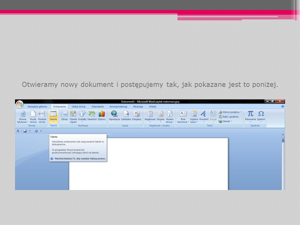 Otwieramy nowy dokument i postępujemy tak, jak pokazane jest to poniżej.