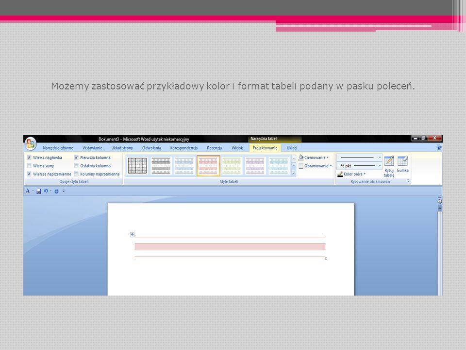 Możemy zastosować przykładowy kolor i format tabeli podany w pasku poleceń.