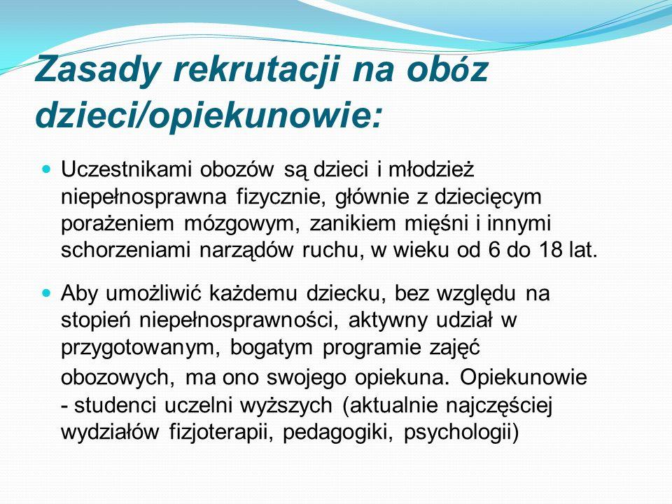 Zasady rekrutacji na obóz dzieci/opiekunowie:
