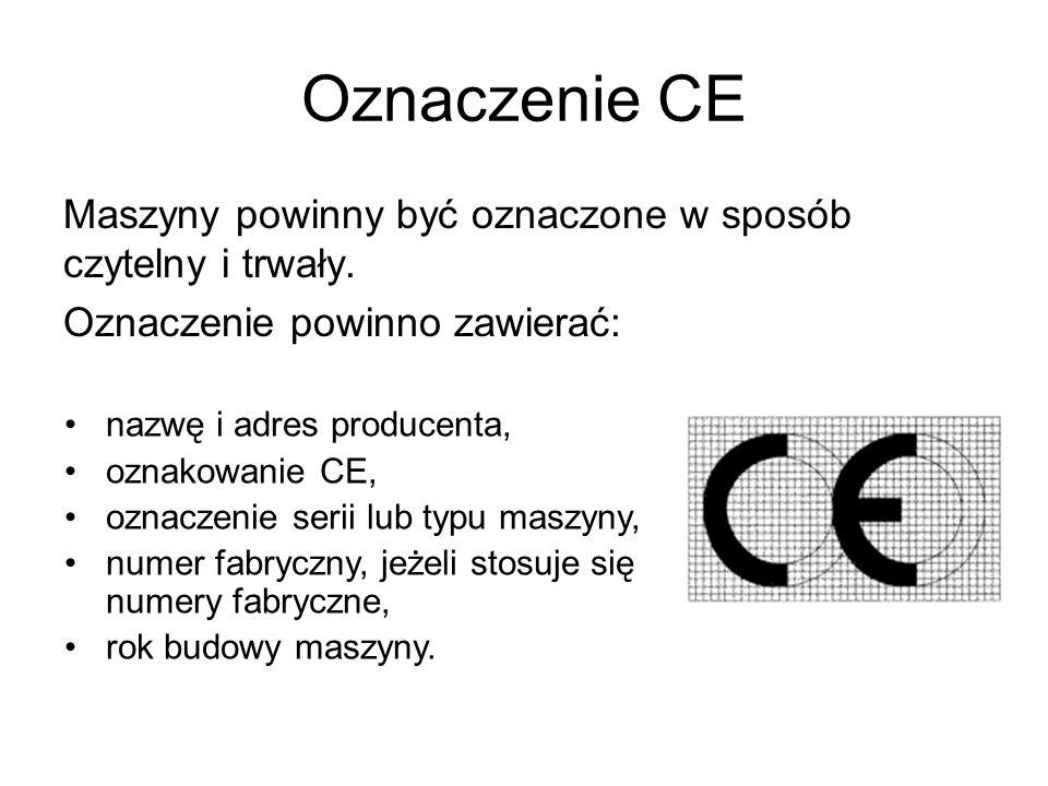 Oznaczenie CE Maszyny powinny być oznaczone w sposób czytelny i trwały. Oznaczenie powinno zawierać: