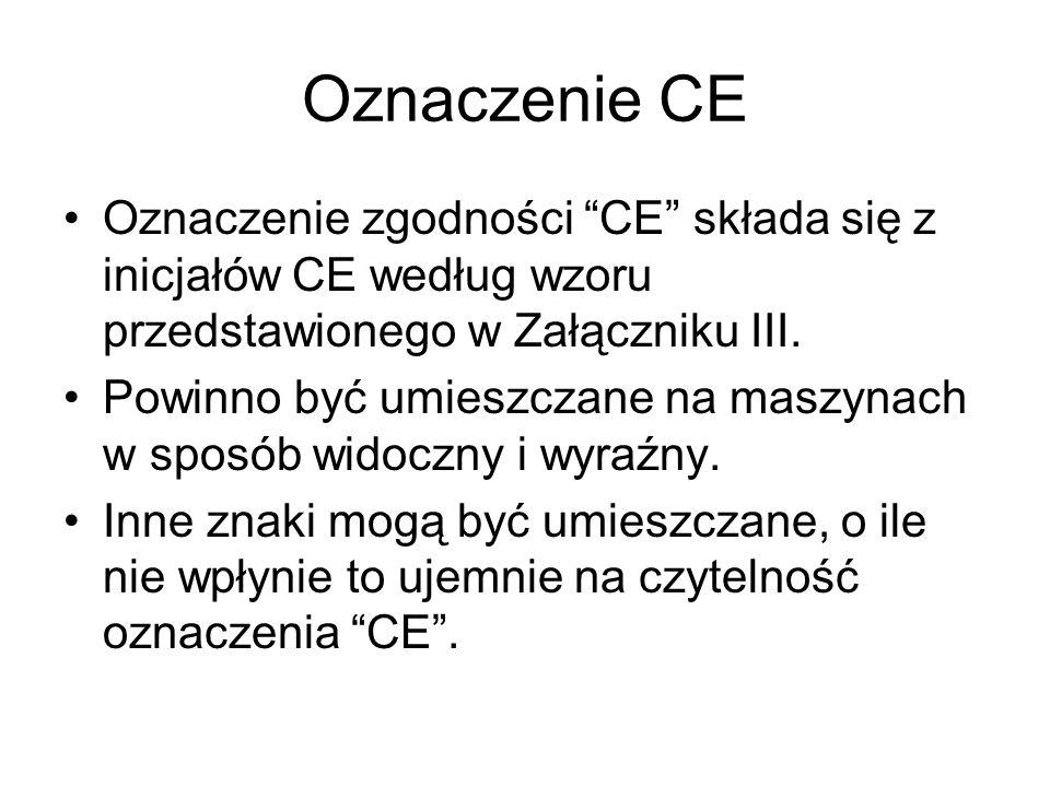 Oznaczenie CE Oznaczenie zgodności CE składa się z inicjałów CE według wzoru przedstawionego w Załączniku III.