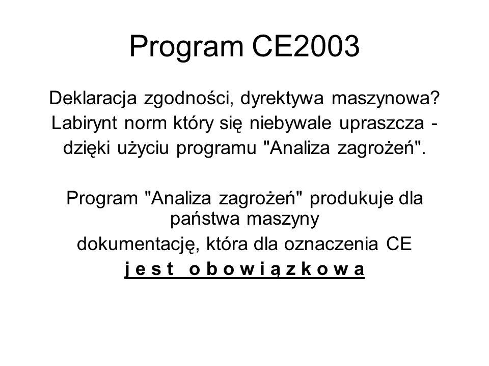 Program CE2003 Deklaracja zgodności, dyrektywa maszynowa
