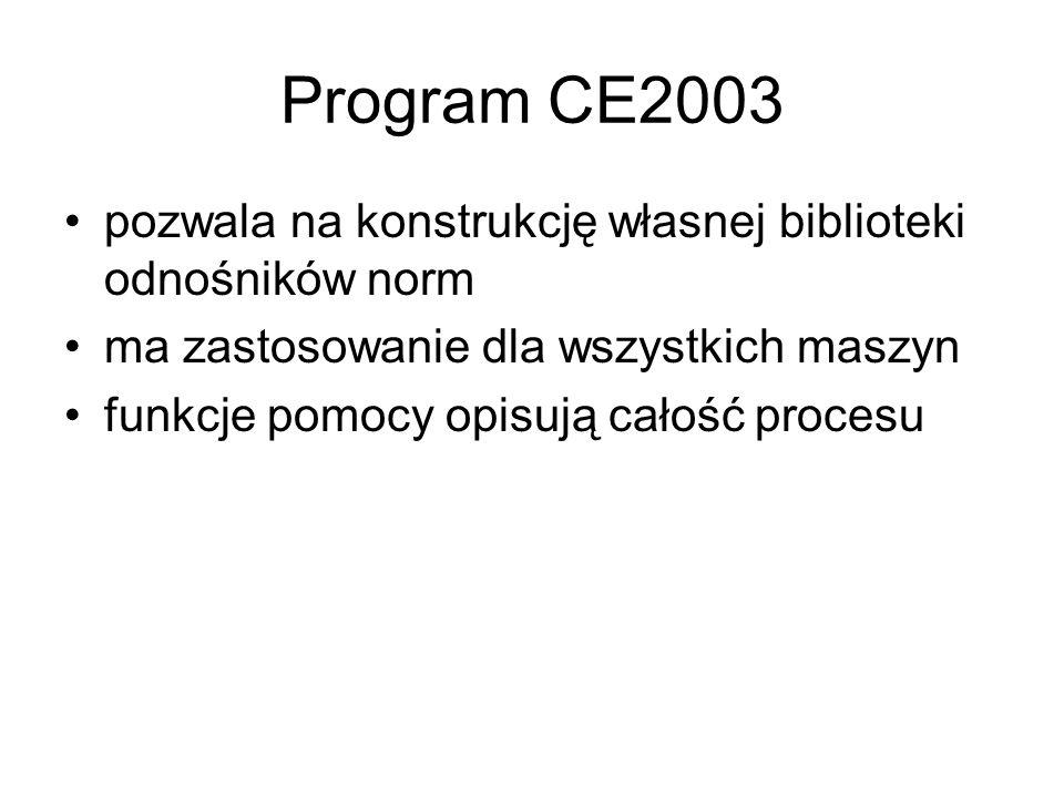Program CE2003 pozwala na konstrukcję własnej biblioteki odnośników norm. ma zastosowanie dla wszystkich maszyn.