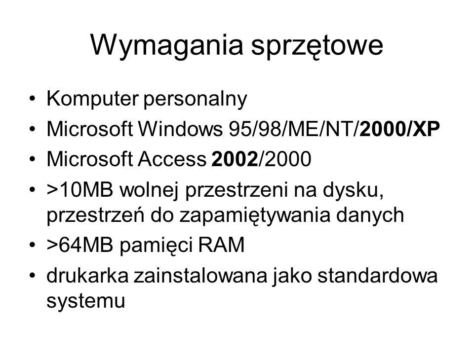 Wymagania sprzętowe Komputer personalny
