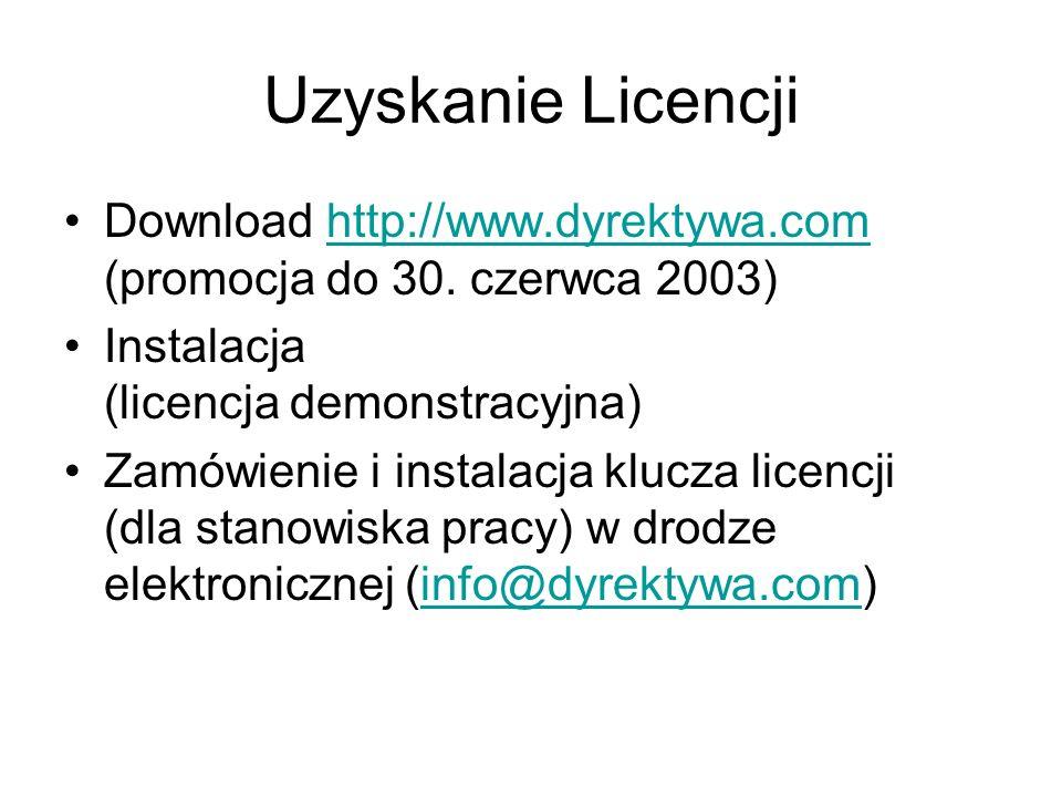 Uzyskanie Licencji Download http://www.dyrektywa.com (promocja do 30. czerwca 2003) Instalacja (licencja demonstracyjna)