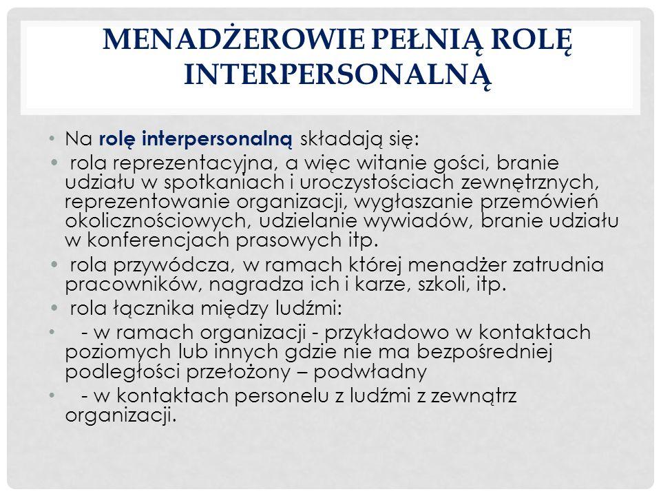 Menadżerowie pełnią rolę interpersonalną