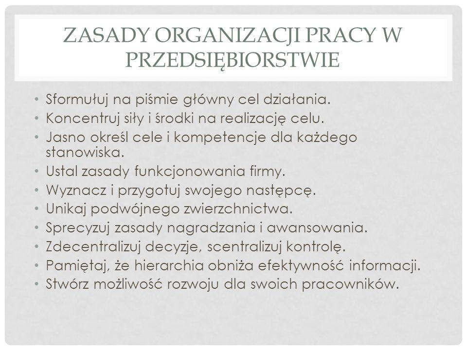 Zasady organizacji pracy w przedsiębiorstwie