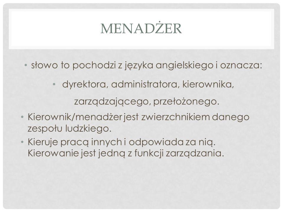 Menadżer słowo to pochodzi z języka angielskiego i oznacza: