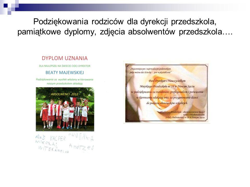 Podziękowania rodziców dla dyrekcji przedszkola, pamiątkowe dyplomy, zdjęcia absolwentów przedszkola….