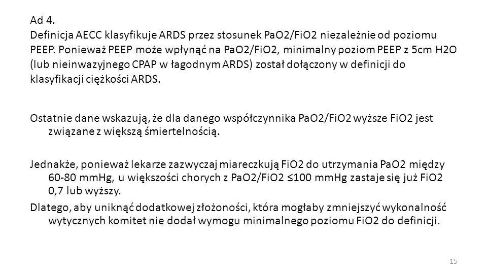 Ad 4. Definicja AECC klasyfikuje ARDS przez stosunek PaO2/FiO2 niezależnie od poziomu PEEP. Ponieważ PEEP może wpłynąć na PaO2/FiO2, minimalny poziom PEEP z 5cm H2O (lub nieinwazyjnego CPAP w łagodnym ARDS) został dołączony w definicji do klasyfikacji ciężkości ARDS.