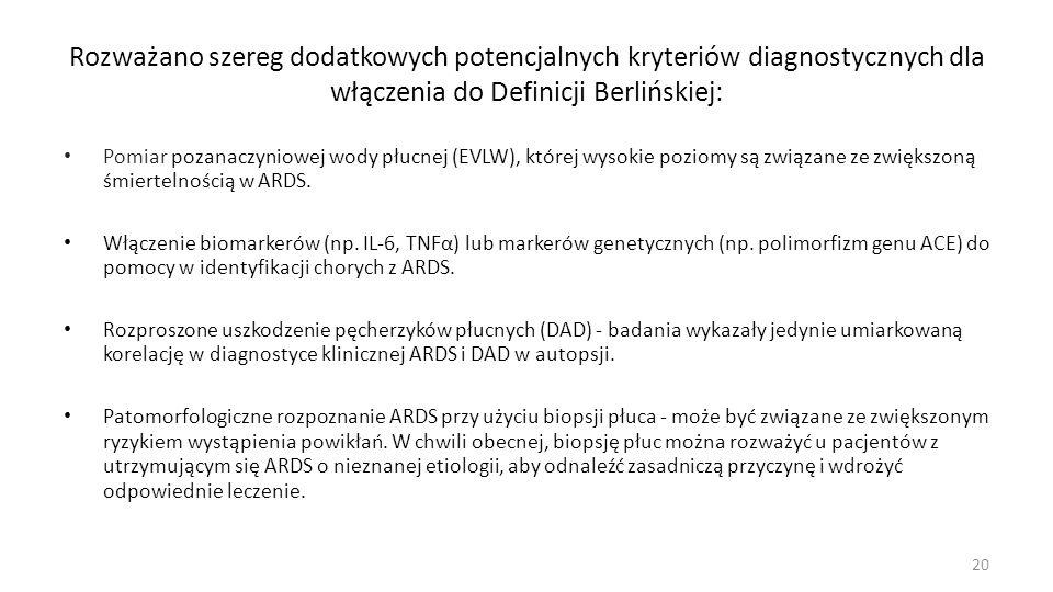 Rozważano szereg dodatkowych potencjalnych kryteriów diagnostycznych dla włączenia do Definicji Berlińskiej: