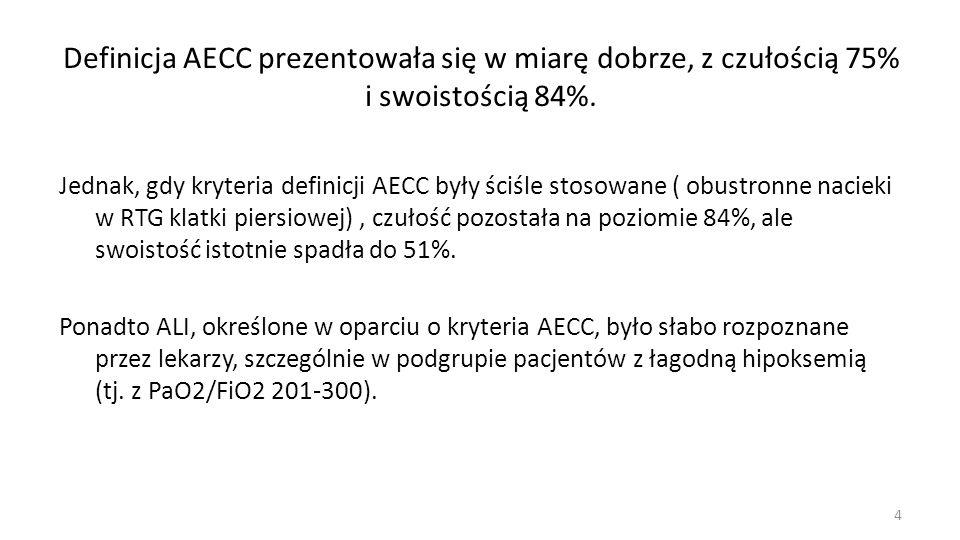 Definicja AECC prezentowała się w miarę dobrze, z czułością 75% i swoistością 84%.