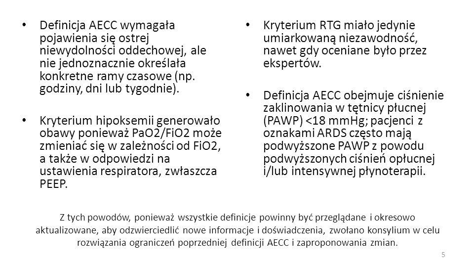 Definicja AECC wymagała pojawienia się ostrej niewydolności oddechowej, ale nie jednoznacznie określała konkretne ramy czasowe (np. godziny, dni lub tygodnie).