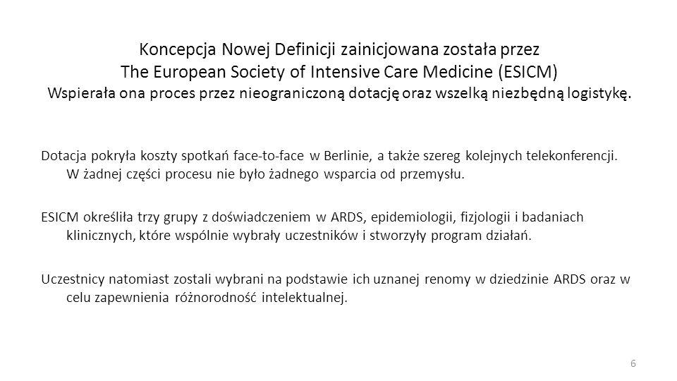 Koncepcja Nowej Definicji zainicjowana została przez The European Society of Intensive Care Medicine (ESICM) Wspierała ona proces przez nieograniczoną dotację oraz wszelką niezbędną logistykę.