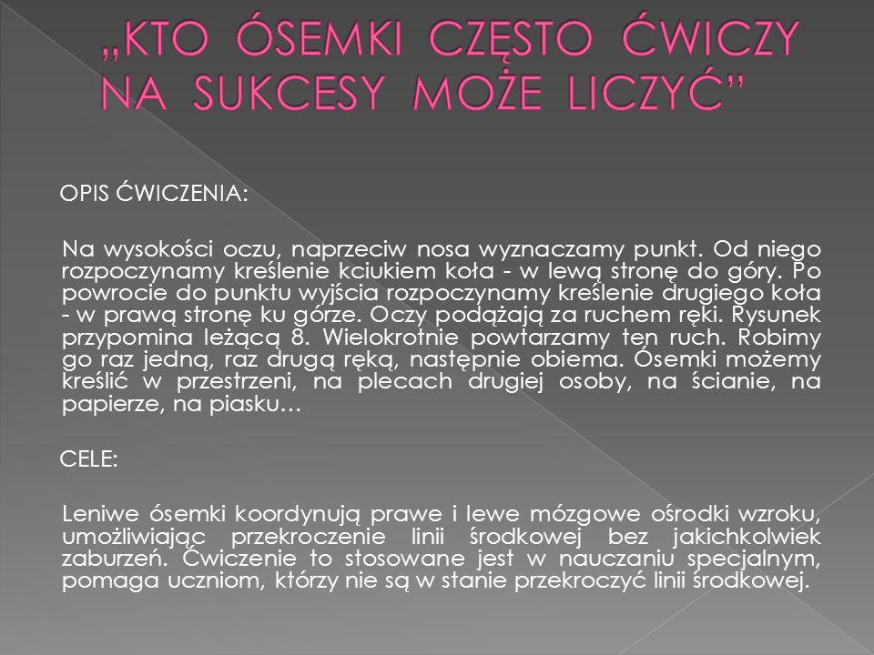 """""""KTO ÓSEMKI CZĘSTO ĆWICZY NA SUKCESY MOŻE LICZYĆ"""