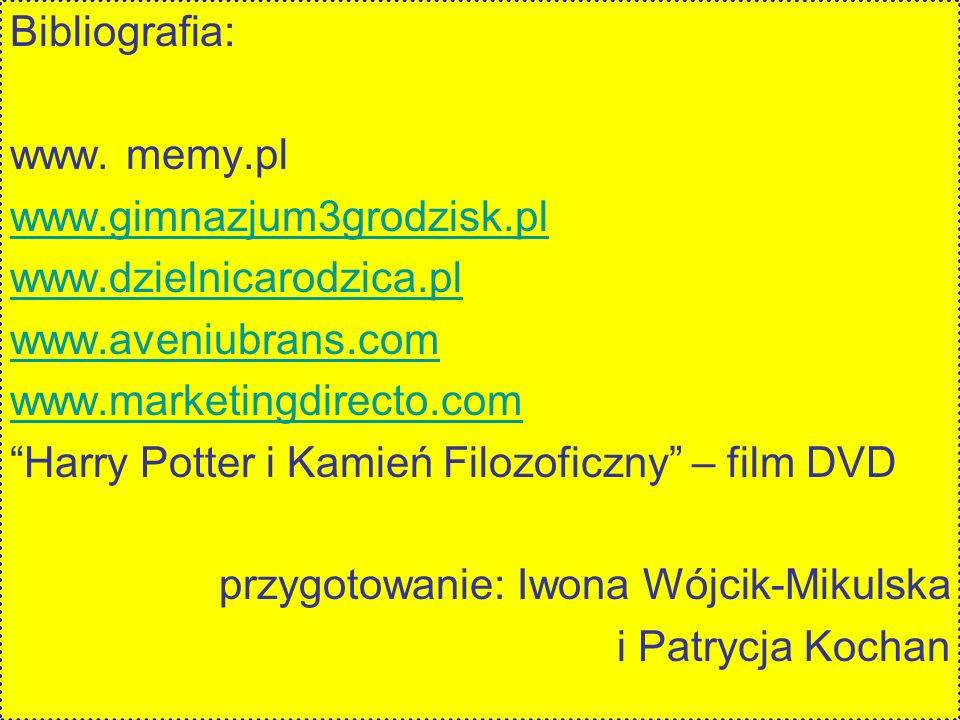 Bibliografia: www. memy.pl. www.gimnazjum3grodzisk.pl. www.dzielnicarodzica.pl. www.aveniubrans.com.