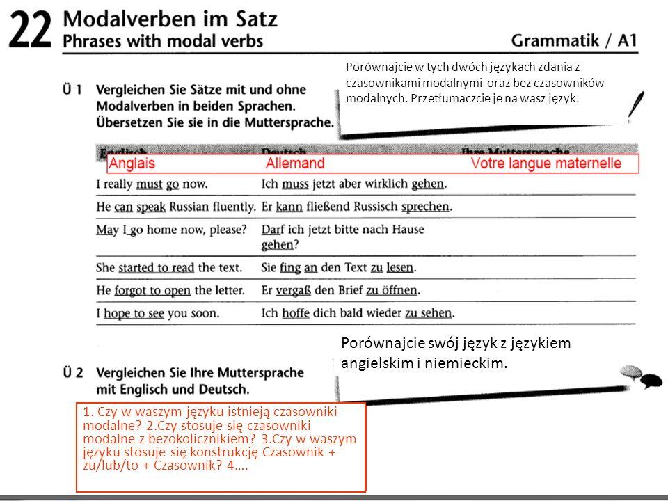 Porównajcie swój język z językiem angielskim i niemieckim.