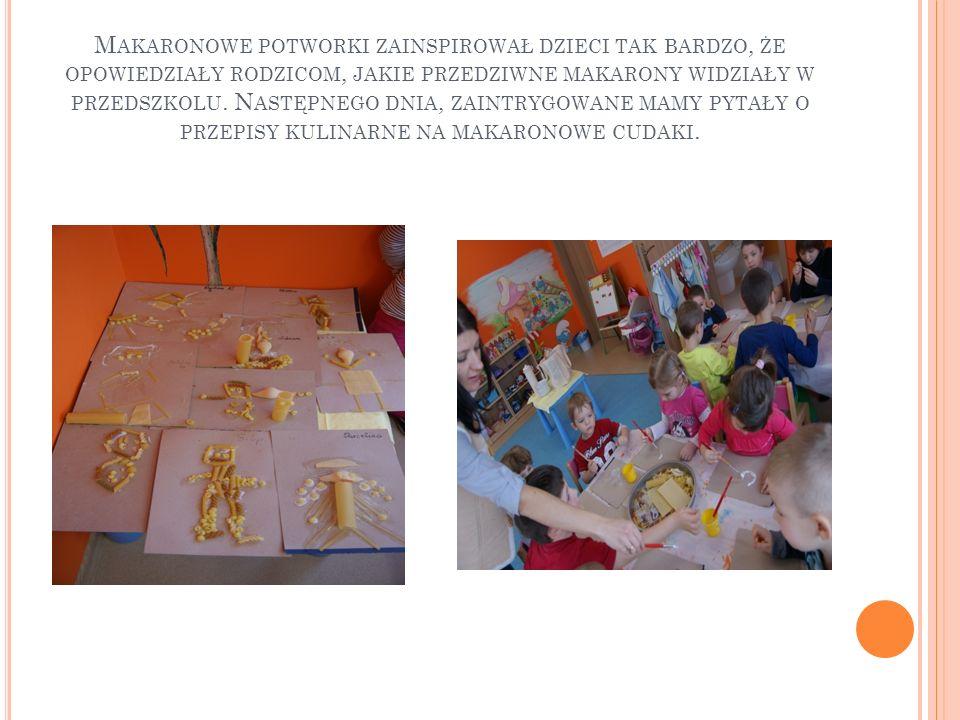 Makaronowe potworki zainspirował dzieci tak bardzo, że opowiedziały rodzicom, jakie przedziwne makarony widziały w przedszkolu.
