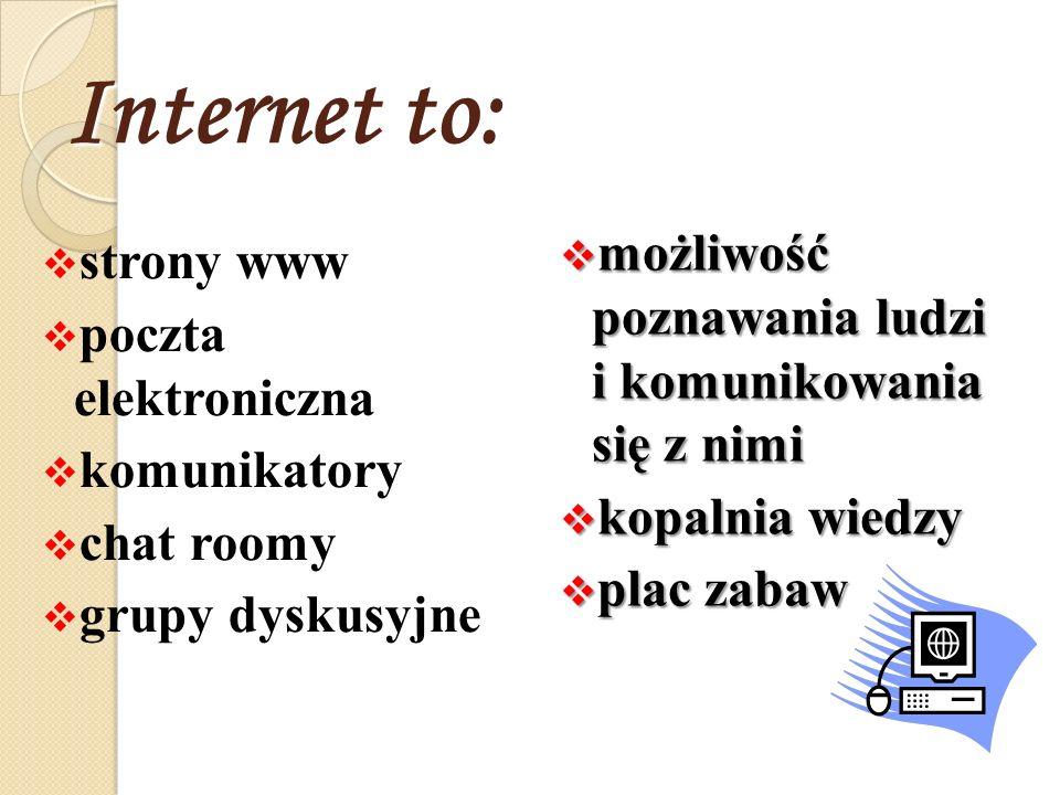 Internet to: możliwość poznawania ludzi i komunikowania się z nimi