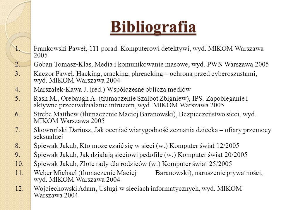 Bibliografia Frankowski Paweł, 111 porad. Komputerowi detektywi, wyd. MIKOM Warszawa 2005.