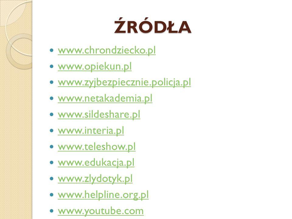 ŹRÓDŁA www.chrondziecko.pl www.opiekun.pl