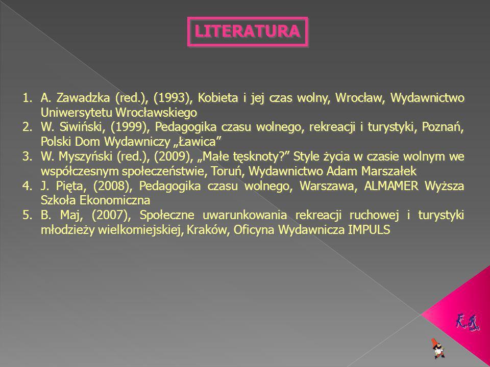LITERATURA A. Zawadzka (red.), (1993), Kobieta i jej czas wolny, Wrocław, Wydawnictwo Uniwersytetu Wrocławskiego.