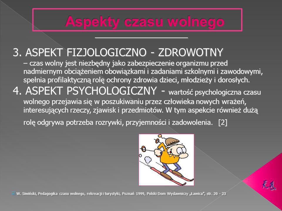 Aspekty czasu wolnego 3. ASPEKT FIZJOLOGICZNO - ZDROWOTNY