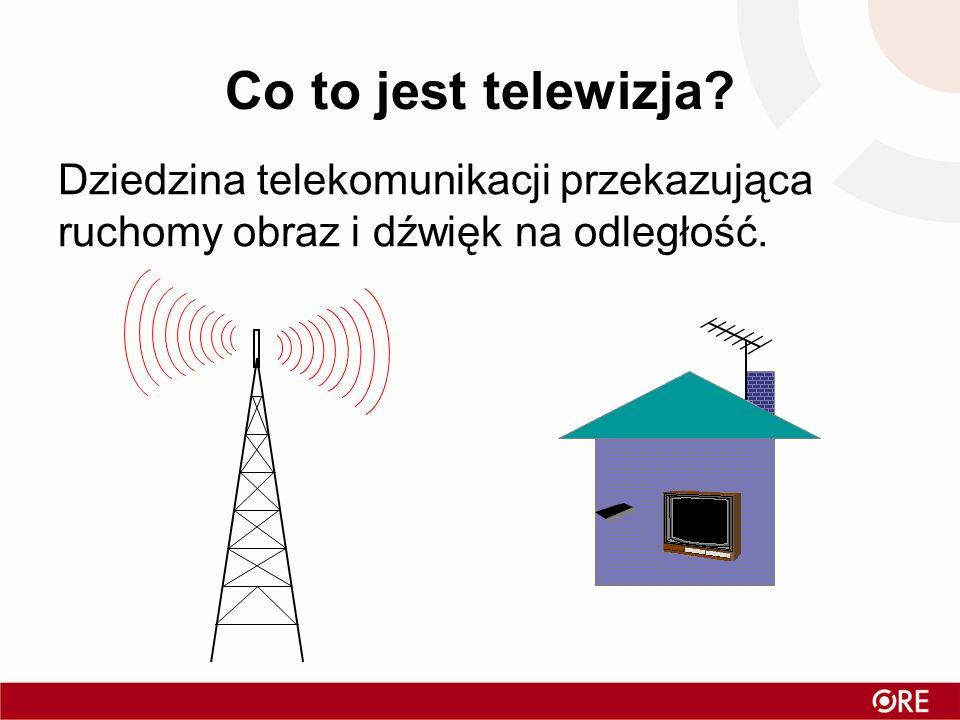 Co to jest telewizja Dziedzina telekomunikacji przekazująca ruchomy obraz i dźwięk na odległość.